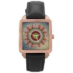 Folk Art Lotus Mandala Dirty Blue Red Rose Gold Leather Watch