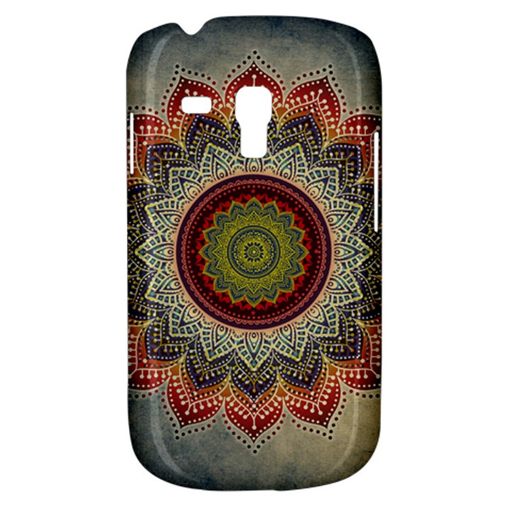 Folk Art Lotus Mandala Dirty Blue Red Samsung Galaxy S3 MINI I8190 Hardshell Case