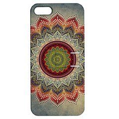 Folk Art Lotus Mandala Dirty Blue Red Apple Iphone 5 Hardshell Case With Stand