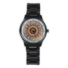Folk Art Lotus Mandala Dirty Blue Red Stainless Steel Round Watch by EDDArt