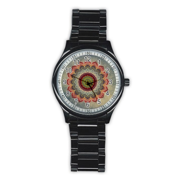 Folk Art Lotus Mandala Dirty Blue Red Stainless Steel Round Watch