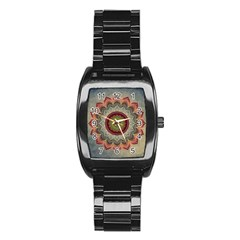 Folk Art Lotus Mandala Dirty Blue Red Stainless Steel Barrel Watch by EDDArt