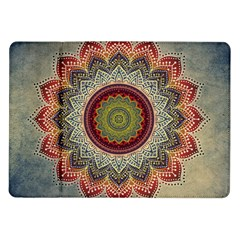 Folk Art Lotus Mandala Dirty Blue Red Samsung Galaxy Tab 10 1  P7500 Flip Case