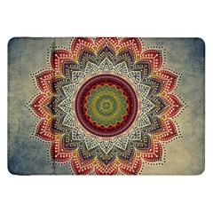 Folk Art Lotus Mandala Dirty Blue Red Samsung Galaxy Tab 8 9  P7300 Flip Case