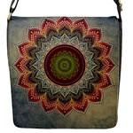 Folk Art Lotus Mandala Dirty Blue Red Flap Messenger Bag (S)
