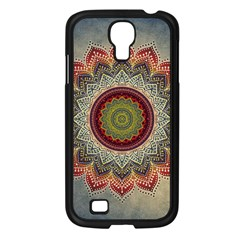 Folk Art Lotus Mandala Dirty Blue Red Samsung Galaxy S4 I9500/ I9505 Case (black)