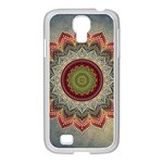 Folk Art Lotus Mandala Dirty Blue Red Samsung GALAXY S4 I9500/ I9505 Case (White) Front