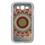 Folk Art Lotus Mandala Dirty Blue Red Samsung Galaxy Grand DUOS I9082 Case (White)