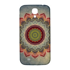 Folk Art Lotus Mandala Dirty Blue Red Samsung Galaxy S4 I9500/i9505  Hardshell Back Case