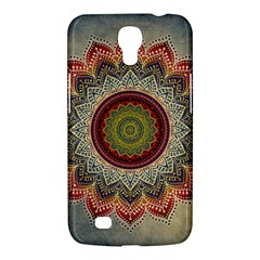 Folk Art Lotus Mandala Dirty Blue Red Samsung Galaxy Mega 6 3  I9200 Hardshell Case