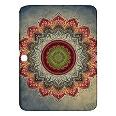 Folk Art Lotus Mandala Dirty Blue Red Samsung Galaxy Tab 3 (10 1 ) P5200 Hardshell Case