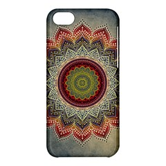 Folk Art Lotus Mandala Dirty Blue Red Apple Iphone 5c Hardshell Case by EDDArt