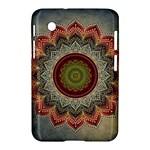 Folk Art Lotus Mandala Dirty Blue Red Samsung Galaxy Tab 2 (7 ) P3100 Hardshell Case