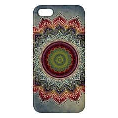 Folk Art Lotus Mandala Dirty Blue Red Iphone 5s/ Se Premium Hardshell Case