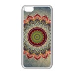 Folk Art Lotus Mandala Dirty Blue Red Apple iPhone 5C Seamless Case (White) Front