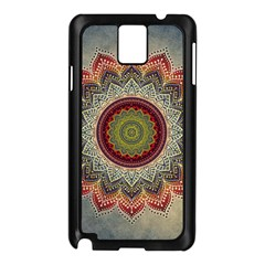 Folk Art Lotus Mandala Dirty Blue Red Samsung Galaxy Note 3 N9005 Case (black) by EDDArt