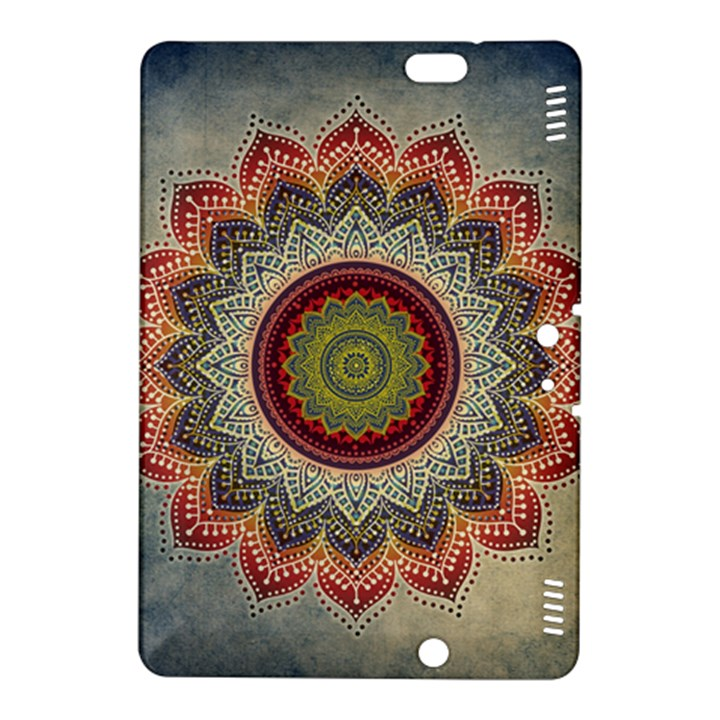 Folk Art Lotus Mandala Dirty Blue Red Kindle Fire HDX 8.9  Hardshell Case