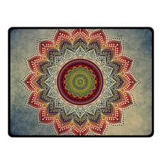 Folk Art Lotus Mandala Dirty Blue Red Double Sided Fleece Blanket (small)  by EDDArt