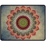 Folk Art Lotus Mandala Dirty Blue Red Double Sided Fleece Blanket (Medium)  58.8 x47.4 Blanket Front
