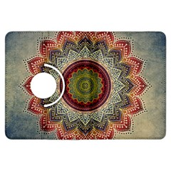 Folk Art Lotus Mandala Dirty Blue Red Kindle Fire Hdx Flip 360 Case by EDDArt