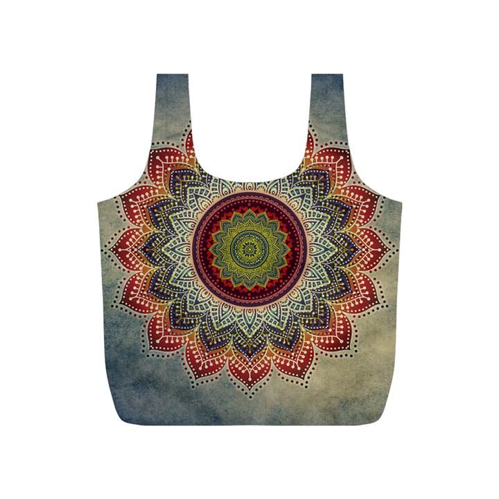 Folk Art Lotus Mandala Dirty Blue Red Full Print Recycle Bags (S)