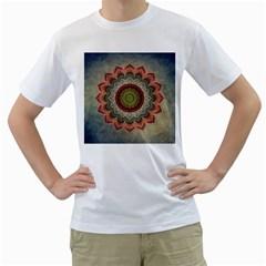 Folk Art Lotus Mandala Dirty Blue Red Men s T Shirt (white)