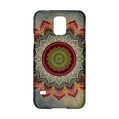 Folk Art Lotus Mandala Dirty Blue Red Samsung Galaxy S5 Hardshell Case
