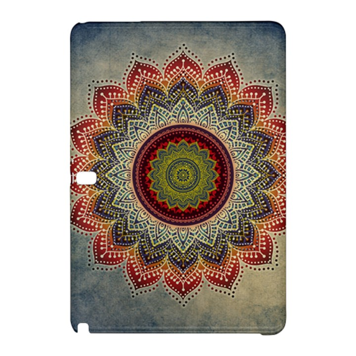 Folk Art Lotus Mandala Dirty Blue Red Samsung Galaxy Tab Pro 12.2 Hardshell Case