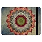 Folk Art Lotus Mandala Dirty Blue Red Samsung Galaxy Tab Pro 12.2  Flip Case Front