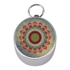 Folk Art Lotus Mandala Dirty Blue Red Mini Silver Compasses by EDDArt