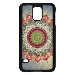 Folk Art Lotus Mandala Dirty Blue Red Samsung Galaxy S5 Case (black)