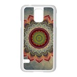 Folk Art Lotus Mandala Dirty Blue Red Samsung Galaxy S5 Case (White) Front
