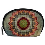 Folk Art Lotus Mandala Dirty Blue Red Accessory Pouches (Large)  Front