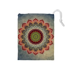 Folk Art Lotus Mandala Dirty Blue Red Drawstring Pouches (medium)