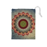 Folk Art Lotus Mandala Dirty Blue Red Drawstring Pouches (Medium)  Front
