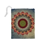 Folk Art Lotus Mandala Dirty Blue Red Drawstring Pouches (Medium)  Back