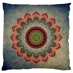 Folk Art Lotus Mandala Dirty Blue Red Large Flano Cushion Case (one Side) by EDDArt