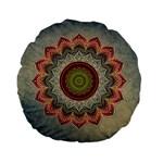 Folk Art Lotus Mandala Dirty Blue Red Standard 15  Premium Flano Round Cushions Back