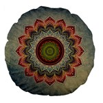 Folk Art Lotus Mandala Dirty Blue Red Large 18  Premium Flano Round Cushions Front
