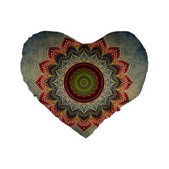 Folk Art Lotus Mandala Dirty Blue Red Standard 16  Premium Flano Heart Shape Cushions