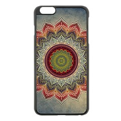 Folk Art Lotus Mandala Dirty Blue Red Apple Iphone 6 Plus/6s Plus Black Enamel Case