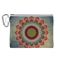 Folk Art Lotus Mandala Dirty Blue Red Canvas Cosmetic Bag (l) by EDDArt