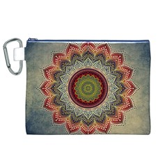 Folk Art Lotus Mandala Dirty Blue Red Canvas Cosmetic Bag (xl) by EDDArt