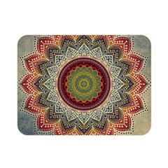Folk Art Lotus Mandala Dirty Blue Red Double Sided Flano Blanket (mini)  by EDDArt