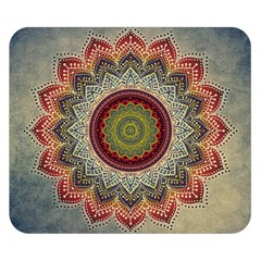Folk Art Lotus Mandala Dirty Blue Red Double Sided Flano Blanket (small)  by EDDArt