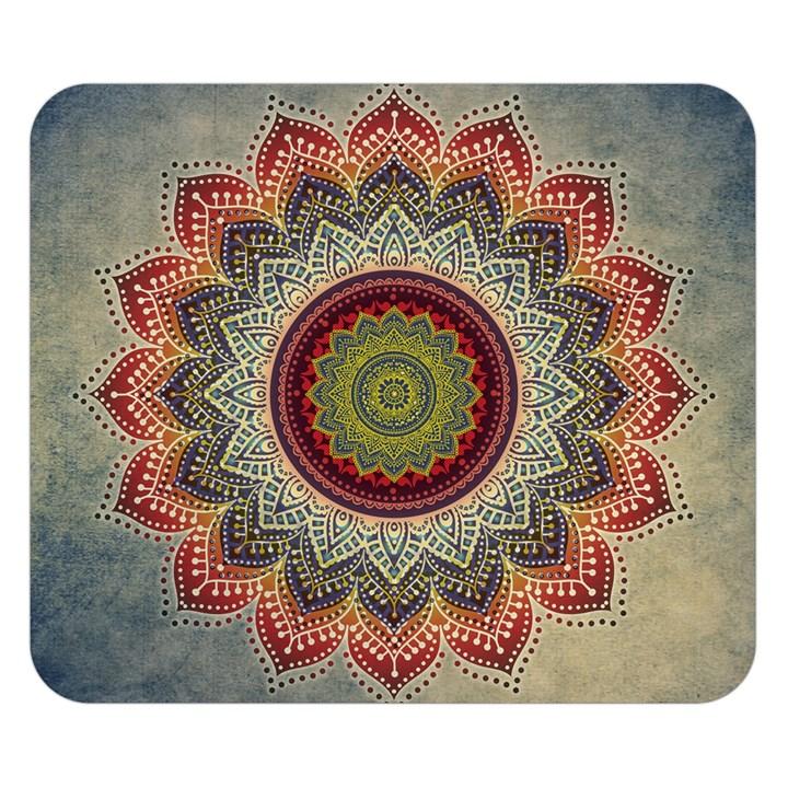 Folk Art Lotus Mandala Dirty Blue Red Double Sided Flano Blanket (Small)