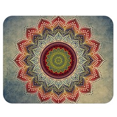Folk Art Lotus Mandala Dirty Blue Red Double Sided Flano Blanket (medium)  by EDDArt