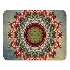 Folk Art Lotus Mandala Dirty Blue Red Double Sided Flano Blanket (large)  by EDDArt