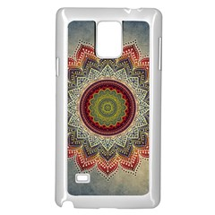 Folk Art Lotus Mandala Dirty Blue Red Samsung Galaxy Note 4 Case (White) by EDDArt