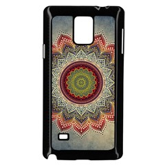 Folk Art Lotus Mandala Dirty Blue Red Samsung Galaxy Note 4 Case (black) by EDDArt